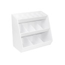 TrippNT Series: White PVC Storage with 13 Fixed Bins with Optional Doors in 6 Colors: 12 x 12 x 7 inches WHD