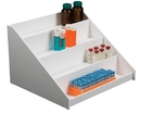 Series: White PVC Reagent Bottle Shelves with 4 Shelves in 3 Sizes