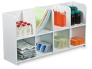 50669 8 Compartment White PVC Standing Bin: 20 x 10 x 5 inches WHD