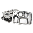Aspire Cafeteria Food Trays, 304 Stainless Steel Camping Trays, 3 Pcs