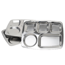 Aspire Rectangular Divided Cafeteria Tray, Stainless Steel Tray, 3 Pieces