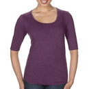 Anvil 6756L Ladies' Tri-Blend Deep Scoop 1/2 Sleeve Tee