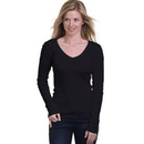 Bayside 3415 Misses Long Sleeve Deep V-Neck Tee