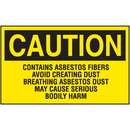 Seton 07400 Asbestos Warning Labels - Caution Contains Asbestos Fibers
