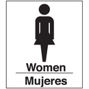 Seton 08000 Polished Plastic Office Signs - Women/Mujeres