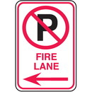 Seton No Parking Signs - Fire Lane with No Parking Symbol and Left Arrow