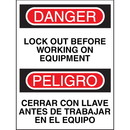Seton Bilingual Safety Signs - Danger/Peligro - Lock Out Before Working