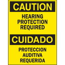 Seton Bilingual Safety Signs - Caution/Cuidado - Hearing Protection Required