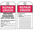 Seton 15719 Equipment Inspection Tags - Repair Order Repairs Required