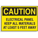 Seton Lockout Hazard Warning Labels- Electrical Panel Keep All Materials At Least 5 Feet Away - 15776