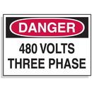 Seton Lockout Hazard Warning Labels- Danger 480 Volts Three Phase - 1598B