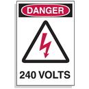 Seton 1605B Lockout Hazard Warning Labels- Danger 240 Volts w/ Graphic