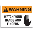 Seton 17449 Hazard Warning Labels - Warning Watch Your Hands And Fingers