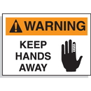 Seton 17463 Hazard Warning Labels - Warning Keep Hands Away (With Graphic)