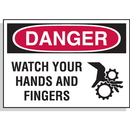 Seton 17538 Hazard Warning Labels - Danger Watch Your Hands And Fingers (With Graphic)