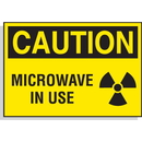 Seton 17565 Hazard Warning Labels - Caution Microwave In Use (with Graphic)