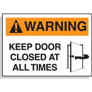 Seton 17582 Hazard Warning Labels - Warning Keep Door Closed At All Times, Size: 5