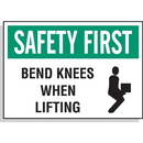 Seton 17592 Hazard Warning Labels - Safety First Bend Knees When Lifting (With Graphic)