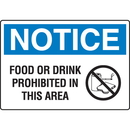 Seton 18025 OSHA Notice Signs - Notice Food Or Drink Prohibited In This Area, Size: 10