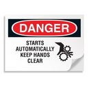 Seton 18239 Danger Signs - Starts Automatically Keep Hands Clear