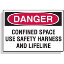 Seton Confined Space Signs - Danger - Use Safety Harness And Lifeline