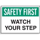Seton 23038 Hazard Warning Labels - Safety First Watch Your Step