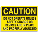 Seton 23098 Hazard Warning Labels - Caution Do Not Operate Unless Safety Guards Or Devices Are In Place And Properly Adjusted