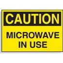 Seton 23120 Hazard Warning Labels - Caution Microwave In Use