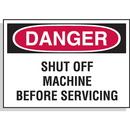 Seton 23201 Hazard Warning Labels - Danger Shut Off Machine Before Servicing, Size: 5