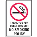 Seton Thank You for Observing Our No Smoking Policy Signs