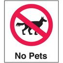Seton 25656 Polished Plastic Office Signs - No Pets