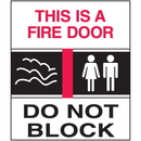 Seton 25677 This Is A Fire Door Sign - Exit/Fire Polished Plastic Sign