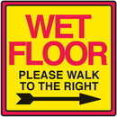 Seton 29364 Safety Traffic Cone Signs - Wet Floor Walk To Right