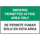 Seton Bilingual No Smoking Signs - Smoking Permitted in This Area Only