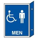 Seton 35674 Handicap Men's Restroom Signs - Double Faced