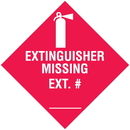 Seton 37816 Extinguisher Missing Ext # (w/graphic) Self-Adhesive Vinyl Fire Equipment Sign