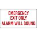 Seton 37817 Emergency Exit Only Alarm Will Sound Self-Adhesive Vinyl Exit Signs