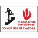 Seton 37818 Exit and Fire Equipment Signs - In Case Of Fire Use Stairway Do Not Use Elevators