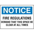 Seton 37830 Notice Fire Regulations Self-Adhesive Vinyl Fire Signs