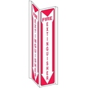 Seton 39429 3-Way View Fire Safety Signs - Fire Extinguisher (Down Arrow)