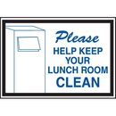 Seton 42344 Deluxe Housekeeping And Cafeteria Signs - Please Help Keep Your Lunchroom Clean
