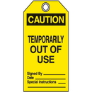 Seton 45179 Jumbo Safety Tags - Caution Temporarily Out Of Use