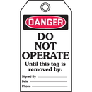 Seton 46578 Self-Laminating Tags - Danger Do Not Operate Until This Tag Is Removed