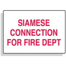 Seton Fire Sprinkler Control Signs - Siamese Connection For Fire Dept