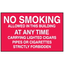 Seton 52165 No Smoking In This Building At Any Time Signs - Aluminum, Plastic or Vinyl