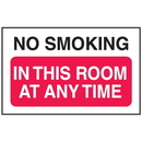 Seton 52216 No Smoking In This Room Anytime Signs - Aluminum, Plastic or Vinyl