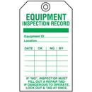 Seton 55762 Economy Equipment Inspection Tags - Record