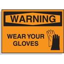Seton 58613 Hazard Warning Labels -Warning Wear Gloves (With Graphic)