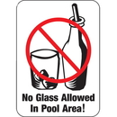 Seton 59399 Water Safety Signs - No Glass Allowed In Pool Area!