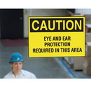 Seton 59547 Double Sided Hanging OSHA Signs - Caution - Eye & Ear Protection Required